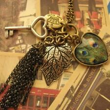 Retro Feather Pendant Heart Love Necklace Peacock Fashion Tassel