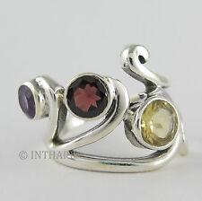 Echte Edelstein-Ringe aus Sterlingsilber mit Citrin für Damen