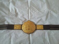 Fandu Adult Big Gold Dark Brown leather Textured Wrestling Championship Belt