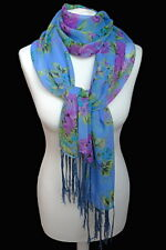 leichter Damenschal Rosen Blumen  blau grün violett Damen Fransen Schal 819 n