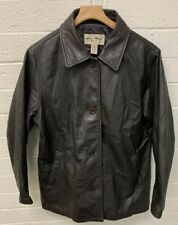 EDDIE BAUER  Men's Brown Leather Button Up Coat Quilted Lining Size XL(see Flaws