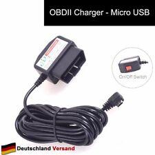 Auto OBD2 DVR Dashcam Ladekabel Micro USB Adapter mit Schalter 16 Pin 12V 24V