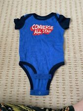 Converse All Star Boys Baby Grow 3-6 Months Blue 100% Cotton Very Cute