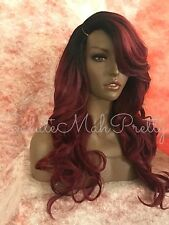 100% Human Hair Blend Deep Part Loose Curls Swoop Bang Lace Front Wig