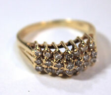 14kt Yellow Gold Diamond Cocktail Ring Round Brilliant Cut Graduated Height Dome