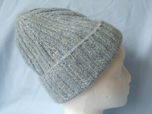 MALO CASHMERE BEANIE HAT  BLUE & WHITE MARL RIBBED HAT One Size  VGC