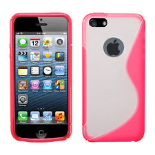 iPhone 5 5S SE TPU Gummy S-Line Flexi Skin Case Phone Cover Pink Clear S-Shape