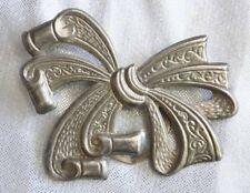 "Elegant Art Nouveau Style Bow Silver-tone Scarf Ring Clip 1970s vintage  3"""