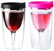 Vino2Go Double Wall Insulated Acrylic Wine Tumbler, Black and Pink, Pack of 2
