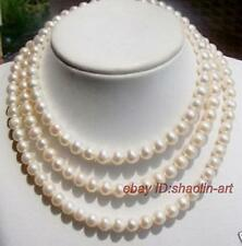 super long, 7-8mm,  white, Akoya, cultured pearl, necklace, 137cm