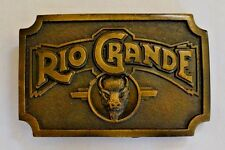 "Brass Belt Buckle RIO GRANDE Humphrey Leathers Good inc. 3"" x 2"""