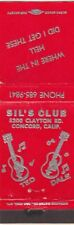 Sil's Club Ted Dale Guitars Club Concord California CA Vintage Matchcover