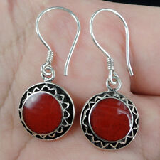 Round RED CORAL 925 Sterling Silver Earrings Jewellery