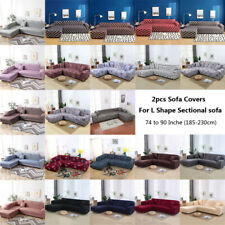 2pcs 3-seater Sofa Covers Polyester Stretch Slipcovers for L Shape Sectional