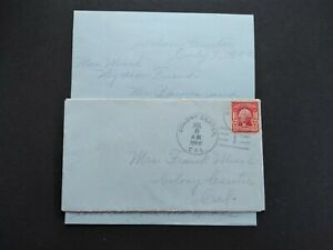 California: Colony Center 1906 Cover + Letter, RARE DPO Merced Co