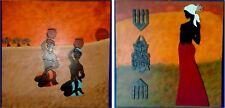 2 Toiles Art Africain.Peinture sur Toile.Tableau Ethnique.Art-déco.Noël.Tableau.
