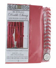 """Red Ruffled Double Swag Shower Curtain & Liner 70"""" x 72"""" w/12 Roller Rings"""
