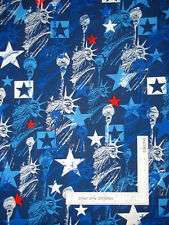 Patriotic Silver Pearl Liberty Blue Cotton Fabric Star Spangled by Kanvas Yard