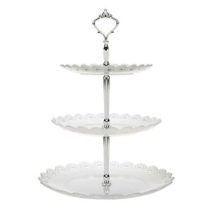 Cake Dessert Rack Plates Wedding Party 3Tier Plastic Fruit Tray Snack Candy Tray
