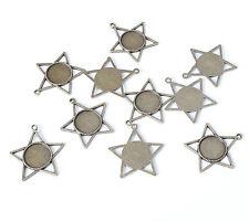 10pcs 30mm Star Pentagram Antique Bronze Bezel Cameo Pendant Cabochon Setting
