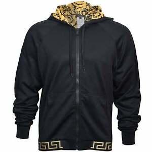 Versace Iconic Baroque Luxe Gym Men's Hoodie, Black/gold