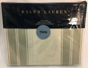 Ralph Lauren Further Lane Amagansett Twin Flat Sheet Tan/Sage Green Stripes NIP
