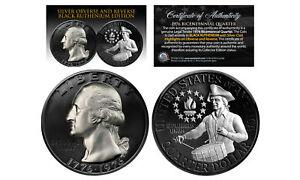 Black RUTHENIUM 2-Sided 1976 Bicentennial Quarter w/Genuine .999 SILVER Features