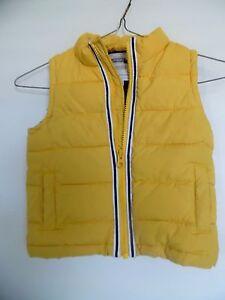 Gymboree Boys Yellow Puffer Vest Jacket Black Fleece Lined ~ Size 12 24M