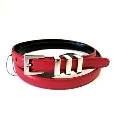 J-3857959 New Saint Laurent Monet Rouge Orient Red Leather Buckle Belt Size 32