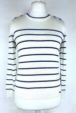 Ness Ladies Cream Blue Striped Nautical Jumper Size M Cotton Mix Spring NEW (L)