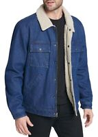 Levi's Mens Denim Trucker Jacket Blue Size XL Sherpa-Lined Zip-Front $149 002
