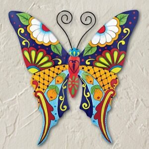 Colorful Vera Bradley Themed Butterfly Metal Hanging Garden Fence Wall Art