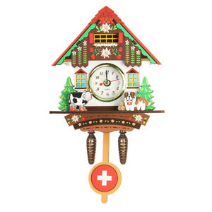 Classic Cuckoo Wooden Wall Hanging Chic Swing Clock Alarm Cow Decorative Mounted