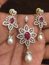 Pave 14.28 Cts Natural Diamonds Ruby Pearl Pendant Earrings Set In Fine 14K Gold
