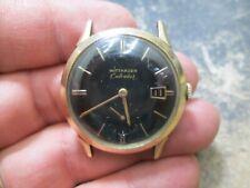 Vintage Wittnauer BLACK DIAL CALENDAR Stainless Steel BACK Running Watch