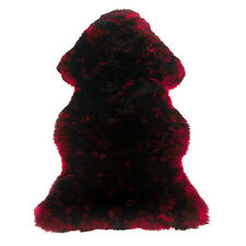 New Large Red w Black TIP Merino Australian Sheepskin Shag Rug Quality 39x27