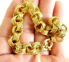 14K SOLID YELLOW GOLD ITALY  LINK CHAIN  BRACELET JEWELRY