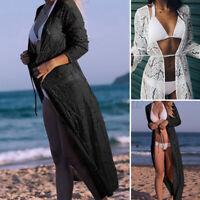 Sexy Femme Cardigans Manteau Manche Longue Couture en dentelle Plage Vacances