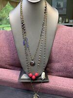 "Bohemian Grey Tone 3 Strand Glass seed bead Layered Stone Crystal necklace 36"""