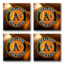 Oakland Athletics Baseball Rubber Square Coaster set (4 pack) SRC2019