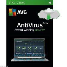 New AVG AntiVirus 2017 2018 for 3 Windows PCs 2 Years Full License + Download