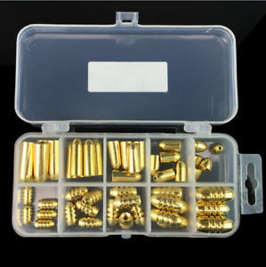 50pcs Bullet Shape Gold Brass Fishing Sinkers Set Lures Weights Sinkers Kit Box