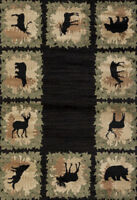BEAR MOOSE GREEN NATURE WILDERNESS ~  5X8 AREA RUG FOR THE HOME NEW!!!