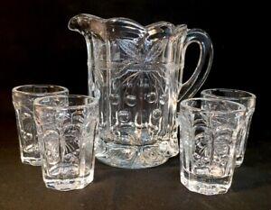 Mosser Art Glass #206 Crystal Miniature Cherry Thumbprint Five Piece Water Set