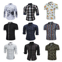 New Mens Fashion Luxury Casual Slim Fit Stylish Long Sleeve Dress Shirts Tops UK