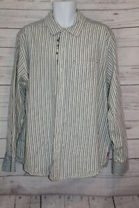 Levi's Men's Western Shirt Blue White Stripe Long Sleeve Button XL Men's Shirt