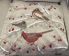 NWT Pottery Barn Bird Printed Embroidered Pillow Cover Beads Cardinal Christmas