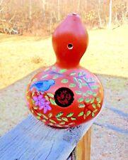 """Blue Bird Floral"" Gourd Birdhouse/Feeder Handpainted, collecibles bird home"