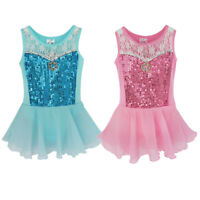 UK Girls Ballet Dress Kid Sequins Princess Party Dance Leotard Gym Skating Dress