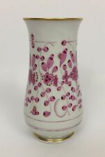 """Meissen Germany White Pink Floral Gold Trim Small Vase 5 3/4"""""""